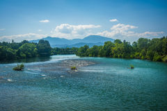 The Sacramento River, seen in Redding, California. Royalty Free Stock Photography