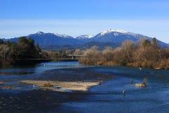 Sacramento River sikt i Redding Kalifornien Arkivfoto