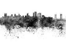 Sacramento skyline in black watercolor Royalty Free Stock Photos
