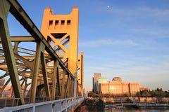 Sacramento skyline. City skyline of Sacramento, California, USA. Tower Bridge sunset royalty free stock image