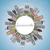 Sacramento Skyline with Gray Buildings, Blue Sky and Copy Space. Stock Photography