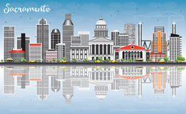 Sacramento Skyline with Gray Buildings, Blue Sky and Reflections Stock Images