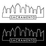 Sacramento skyline. Linear style. Royalty Free Stock Image