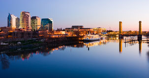 Sacramento skyline at night. With reflection in the river Stock Photo