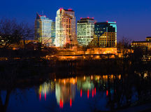 Sacramento skyline at night. Office building reflecting in the river royalty free stock photos