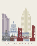 Sacramento skyline poster. In editable vector file Stock Images