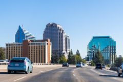 Sacramento skyline seen from the nearby freeway. September 23, 2018 Sacramento / CA / USA - Sacramento skyline as seen when driving on the freeway close to the royalty free stock photo