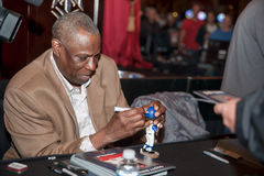 Sacramento Sports Hall of Fame. LINCOLN, CA - January 30: Dusty Baker autographs a bobble head at the Sacramento Sports Hall of Fame press conference held at Stock Images
