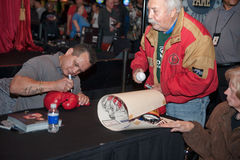Sacramento Sports Hall of Fame. LINCOLN, CA - January 30: Tony Tiger Lopez autographs memorabilia at the Sacramento Sports Hall of Fame press conference held at Royalty Free Stock Photography