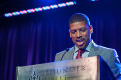 Sacramento Sports Hall of Fame. LINCOLN, CA - February 2: Sacramento Mayor Kevin Johnson accepts award at the SSHOF ceremony at Thunder Valley Casino Resort in Royalty Free Stock Photos