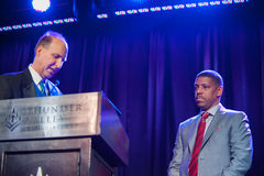 Sacramento Sports Hall of Fame. LINCOLN, CA - February 2: Sacramento Mayor Kevin Johnson accepts award at the SSHOF ceremony at Thunder Valley Casino Resort in Royalty Free Stock Photography
