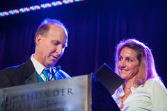 Sacramento Sports Hall of Fame. LINCOLN, CA - February 2: Summer Sanders accepts award at the Sacramento Sports Hall of Fame at Thunder Valley Casino Resort in Royalty Free Stock Photos