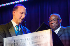 Sacramento Sports Hall of Fame. LINCOLN, CA - February 2: Dusty Baker accepts award at the Sacramento Sports Hall of Fame ceremony at Thunder Valley Casino Royalty Free Stock Images