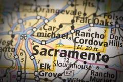 Sacramento sur la carte image stock