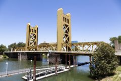 Sacramento Tower Bridge With River And Clear Blue Sky Stock Images
