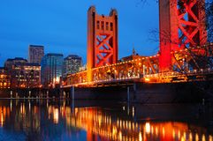 Sacramento and the Tower Bridge. The Tower Bridge Crosses the Merced River in the heart of Downtown Sacramento, California stock image