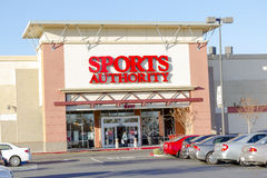 SACRAMENTO, USA - DECEMBER 21:  Sports Authority entrance on Dec. Ember 21, 2013 in Sacramento, California. Sports Authority is one of the largest sporting goods Royalty Free Stock Photos