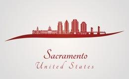 Sacramento V2 skyline in red Royalty Free Stock Photography