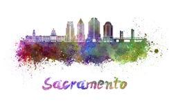 Sacramento V2 skyline in watercolor Stock Image