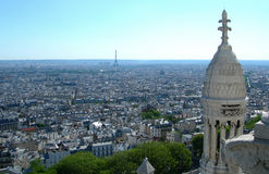 Sacre Ceure tower on Paris aerial view Royalty Free Stock Image