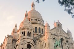 Sacre coer paris  at dusk Royalty Free Stock Photography