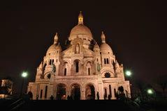 Sacre Coeur在晚上 库存图片