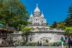 Sacre Coeur大教堂大教堂,蒙马特巴黎看法  免版税库存照片