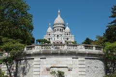 Sacre Coeur大教堂大教堂,蒙马特巴黎看法  免版税库存图片