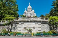 Sacre Coeur大教堂大教堂,蒙马特巴黎看法  图库摄影