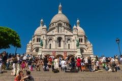 Sacre Coeur大教堂大教堂,蒙马特巴黎看法  免版税图库摄影
