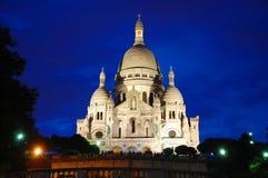 Sacre Coeur на ноче Стоковые Фото