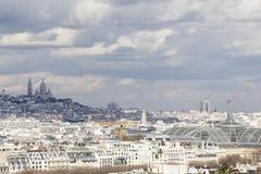 Sacre Coeur, Париж от путешествия Eiffel Стоковая Фотография
