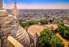 Городской пейзаж Парижа от собора Sacre Coeur Стоковая Фотография RF