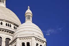 Sacre Coeur and Airplane Stock Image