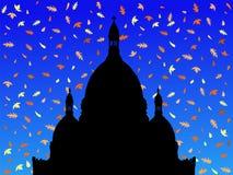 Sacre Coeur in autunno illustrazione vettoriale