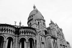 Sacre Coeur. Basilic Sacre Coeur in Paris. Black and white photo Royalty Free Stock Image