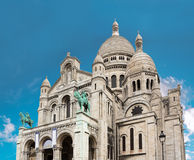 Sacre Coeur Basilica close-up, Paris, France. Bright blue sky Stock Photo