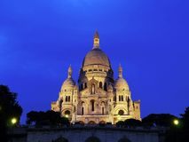 Sacre-Coeur Basilica at night Stock Photo