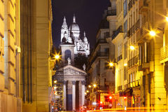 Sacre-Coeur Basilica at night in Paris, Fraance Royalty Free Stock Photos