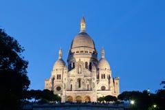 Sacre-Coeur Basilica in night Royalty Free Stock Photos