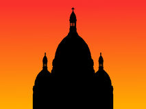 Sacre Coeur Basilica Paris. Sacre Coeur Basilica Montmartre at sunset with colorful sky Royalty Free Stock Image