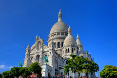 The Sacre Coeur Basilica on Paris Butte Montmartre Stock Photos
