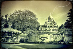 Sacre Coeur Basilica in Paris in summer day. Vintage view. old retro style. Stock Image