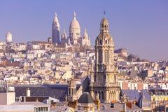 Sacre-Coeur basilika i morgonen, Paris, Frankrike Royaltyfri Fotografi