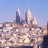 Sacre-Coeur basilika i morgonen, Paris, Frankrike Royaltyfri Foto