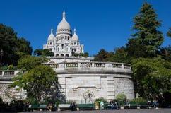 Sacre-Coeur Basilique i Montmartre Paris, Frankrike arkivfoton