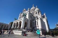 Sacre-Coeur Basilique i Montmartre Paris, Frankrike fotografering för bildbyråer