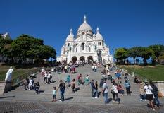 Sacre-Coeur Basilique i Montmartre Paris, Frankrike arkivbild