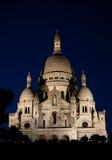 Sacre Coeur bij nacht stock afbeeldingen
