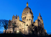 Sacre Coeur during the blue hour Royalty Free Stock Photos